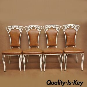 Vintage Wrought Iron Leaf Vine Patio Garden Dining Chairs Woodard Style Set Of 4