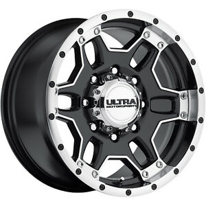 17x9 Machined Black Ultra Mongoose 178 Wheels 8x6 5 12 Hummer H2