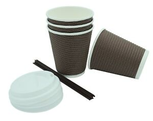 Premium Disposable Double Wall Paper Coffee Cups With Lids 100 Count 12 Oz New