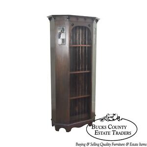 Arts Crafts Antique Oak Bookcase With Leaded Glass Panels