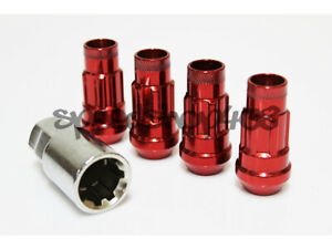 Z Racing Red 4 Pieces Locks Lug Nuts 12x1 5mm Open Extended Key Tuner