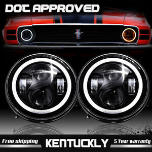 Dot Led Diamond Projector 7 Inch Round Headlights For Ford Mustang 1965 1978