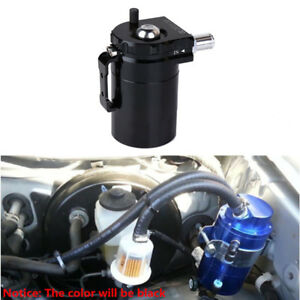Universal Black Aluminum Oil Catch Tank Can With Horse Fittings Bracket Screws