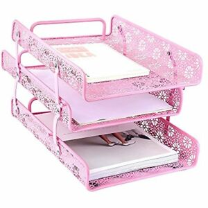 Metal Hollow 3 tier Document Tray Files Sorter Paper Holder Magazine Frame Of