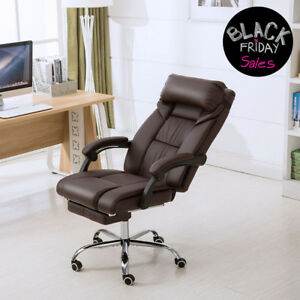Executive Chair Pu Leather Luxury Reclining High Back Office Chair W footrest