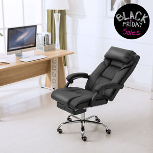 Executive Swivel Office Chair Ergonomic High Back Pu Leather Chair W footrest