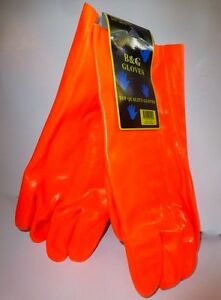 B g Pvc Coated Work Gloves Lined Comfortable Fits Large Mens Hands Orange