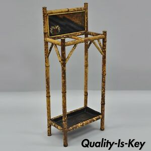 Antique Oriental Charred Burned Bamboo Umbrella Cane Hall Stand Paint Decorated