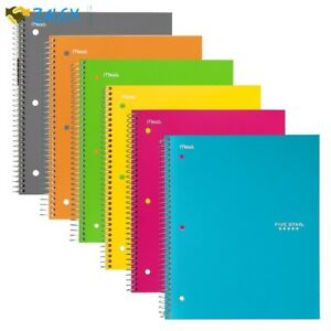 6 Pack Spiral Notebooks 1 Subject College Ruled Paper 100 Sheets 11 X 8 1 2