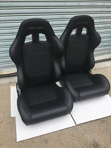 Cipher Auto Black Leatherette W black Piping Universal Euro Racing Seats Pair