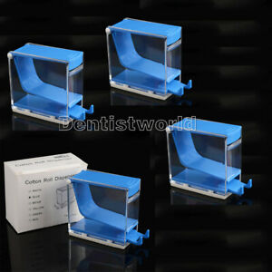 4 Boxes Dental Ortho Dentist Cotton Roll Dispenser Holder Press Type Blue Color