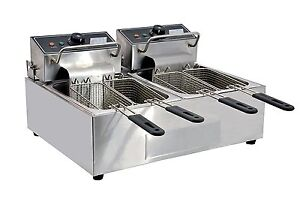 Omcan 34868 Commercial Counter Top Double Electric 110 V Fryer Ce cn 0012 12 Lb
