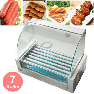 New Commercial 18 Hot Dog Hotdog 7 Roller Grill Cooker Machine W Cover Tray Set