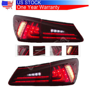 For Lexus Is250 Is350 Is F 2006 12 Pair Tail Lights Led Red Lens Rear Lamp