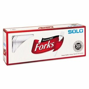 Solo Cup Company Heavyweight Plastic Cutlery Forks White 6 41 In 500 carton