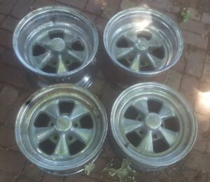 15 Inch 5 Spoke Uni Lug Wheels 2 15x10 And 2 15x7 Et Cragar Fenton