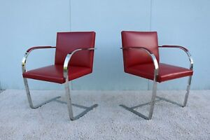 Mies Van Der Rohe For Knoll Vintage Red Leather Brno Flat Bar Chairs A Pair