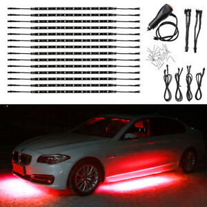 14pcs Red 12 Strip Led Lights Underglow Car Truck Under Body Neon Accent Glow