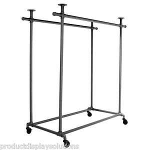 Pipe Pipeline Double Rail Rolling Clothing Garment Display Ballet Rack Grey