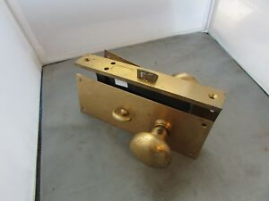 Vtg Door Lock Set Cylinder Mortise Knobs Back Plates Corbin Russwin 11224bb