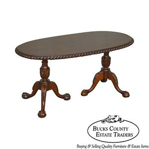 Chippendale Style Custom Mahogany Ball Claw Rope Edge Oval Coffee Table