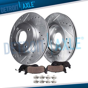 Front Drilled Slotted 4 Lug Brakes Rotor ceramic Pads 1999 2000 2005 Honda Civic