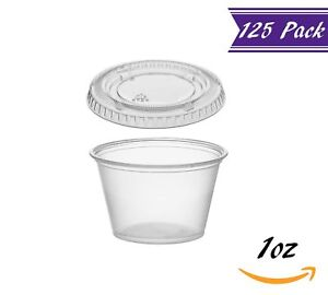 125 Pack 1 ounce Plastic Portion Cups With Lids Clear Condiment Cups