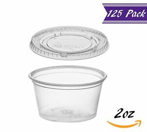 125 Pack 2 ounce Plastic Portion Cups With Lids Clear Condiment Cups