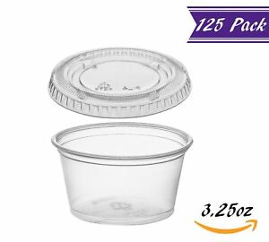 125 Pack 3 25 ounce Plastic Portion Cups With Lids Clear Condiment Cups