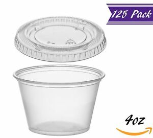 125 Pack 4 ounce Plastic Portion Cups With Lids Clear Condiment Cups With Lid