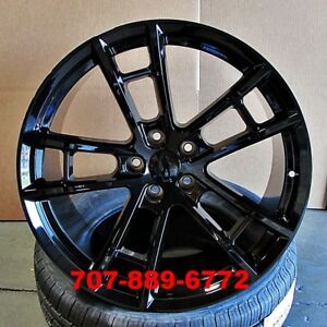 20 Staggered Daytona Style Wheels Gloss Black Fit Dodge Charger Challenger M392