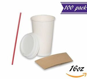 set Of 100 16 Oz Paper Coffee Cups With Dome Lids And Sleeves Stirres Free
