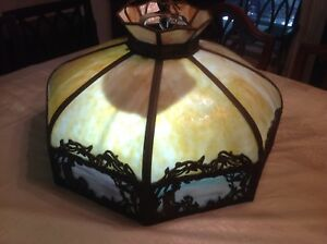 Antique Art Deco Style 8 Panel Bent Slag Hanging Dome Shade Light Natural Colors