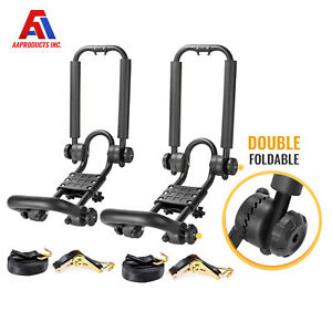 1 Pair Universal Folding Kayak Roof J Rack Boat Canoe Car Suv Top Mount Carrier