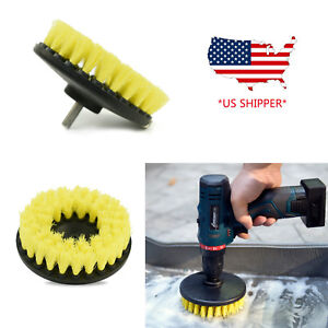 5 Inch Drill Brush For Car Carpet Wall And Tile Cleaning Medium Duty Yellow