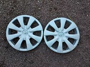 09 10 11 12 13 Pair Of 2 New Corolla Hubcaps Wheel Covers Chrome Emblem 61147