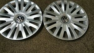 Pair Of 2 61560 10 11 12 13 2014 15 Vw Volkswagen Golf Hubcaps Wheel Covers