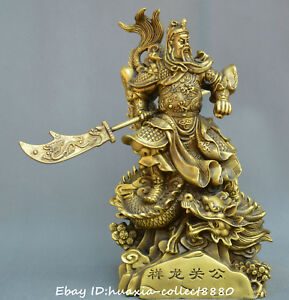 Chinese Fengshui Old Bronze Guan Yu Dragon Robe God Of Wealth Warrior God Statue