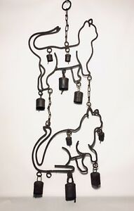 Antique Wrought Iron Bell Wind Chime Cats Primitive Rustic Kitty Chime