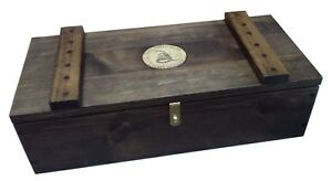 Rustic Wooden Ammo Box - Cartridge Accessories Storage Crate - Dont Tread On Me