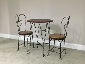 Vintage Oak And Iron Ice Cream Bistro Table And Chairs