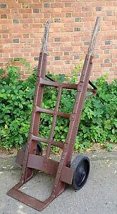 Industrial 1930 S Riveted Keg Push Hand Cart Antique Vintage Dolly