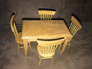 Wood Miniature Furniture 4 Chairs And Table