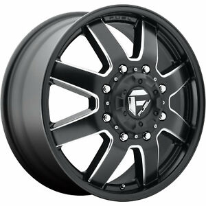 17x6 5 Black Fuel Maverick Dually Front Wheels 8x200 140 Fits Ford