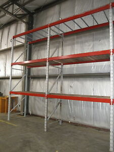 4 Sections 14 Tall Pallet Racking With Two Shelves wire Decking