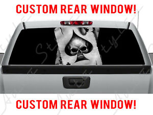 Skull Rear Ford Card Dodge Chevy Pickup Spades Ace Truck Perforated Window Decal