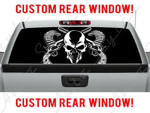 Skull Rear Ford Guns Dodge Chevy Pickup Amo Cross Truck Perforated Window Decal