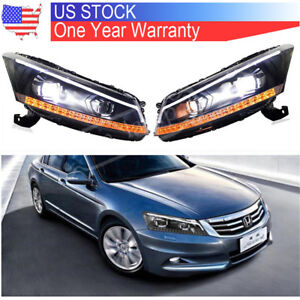 For 2008 2012 Honda Accord Dual Beam Front Lamps Led Headlights Drl Projector