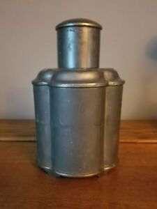 Antique Vintage Chinese Pewter Tea Caddy 8 25 H