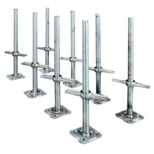 Adjustable 24 In Steel Leveling Scaffolding Screw Jack With Base Plate 8 pack